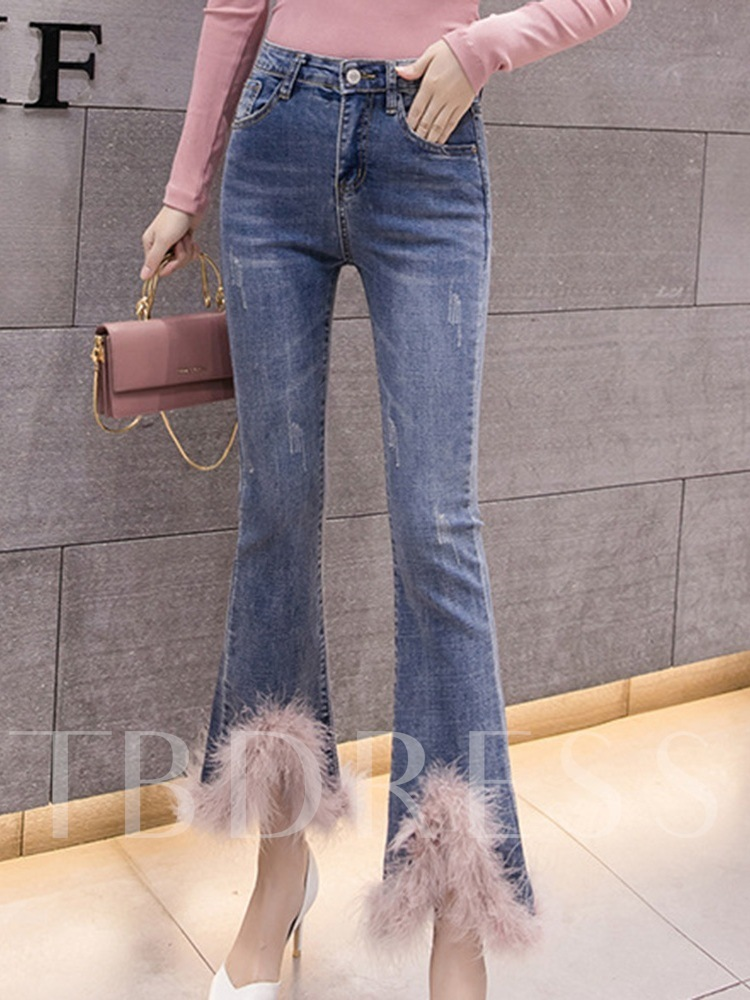 Patchwork Bellbottoms Farbe Block hohe Taille Damen Jeans
