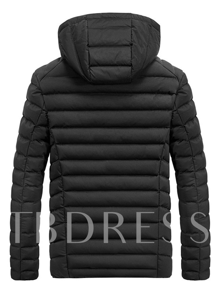 Standard Hooded Zipper Casual Men's Down Jacket