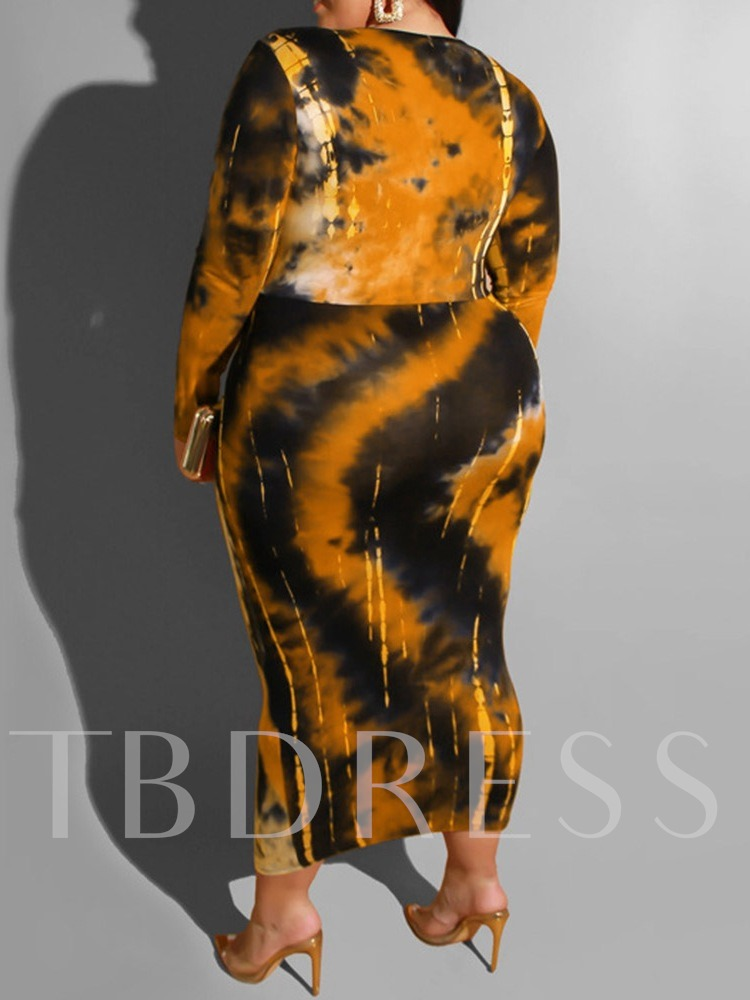 Plus Size Mid-Calf Tie-Dye V-Neck Long Sleeve Sexy Women's Dress