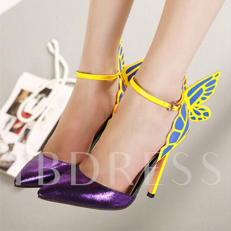 Newest Point Toe Stiletto Heel Butterfly Ankle Strap Sandals