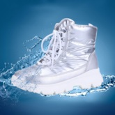 Plain Lace-Up Front Round Toe Waterproof Snow Boots