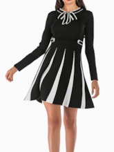 Long Sleeve Print Bow Collar Above Knee Pullover Women's Long Sleeve Dress