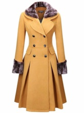 Double-Breasted Patchwork A Line Mid-Length Women's Overcoat