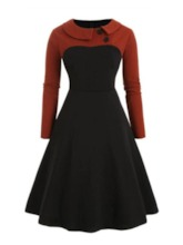 Patchwork Long Sleeve Mid-Calf Color Block Women's Dress