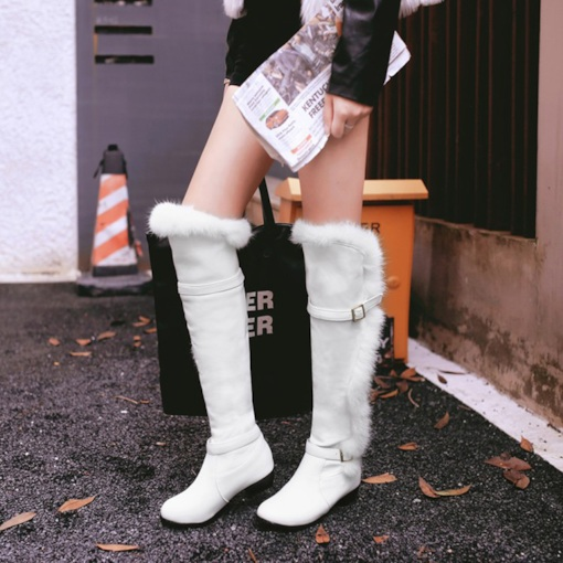 Hasp Round Toe Plain Knee High Snow Boots