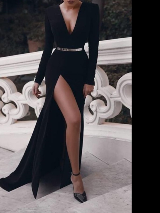 Long Sleeves Split-Front Sheath Black Evening Dress 2019