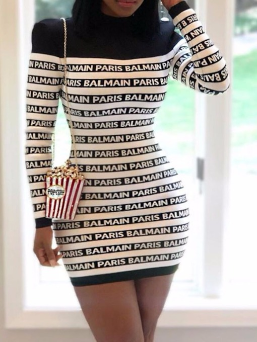 Above Knee Long Sleeve Print Stand Collar Winter Women's Bodycon Dress