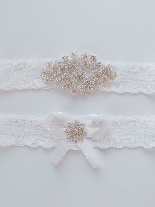 Diamond Floral Lace Garters