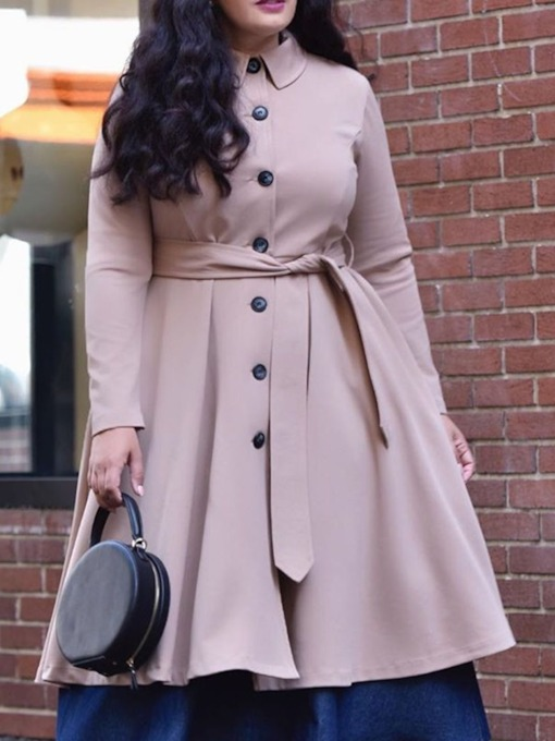 Plus Size Single-Breasted Mid-Length Lapel Loose Women's Trench Coat
