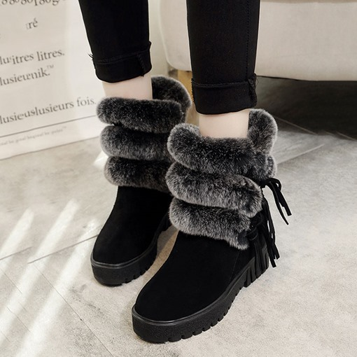 Customized Slip-On Plain Round Toe Fringe Fluffy Snow Boots