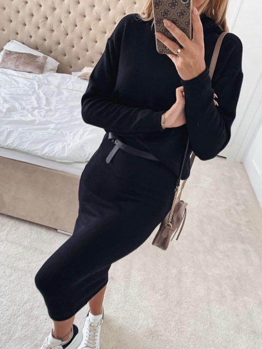 Plain Simple Bodycon Women's Two Piece Sets