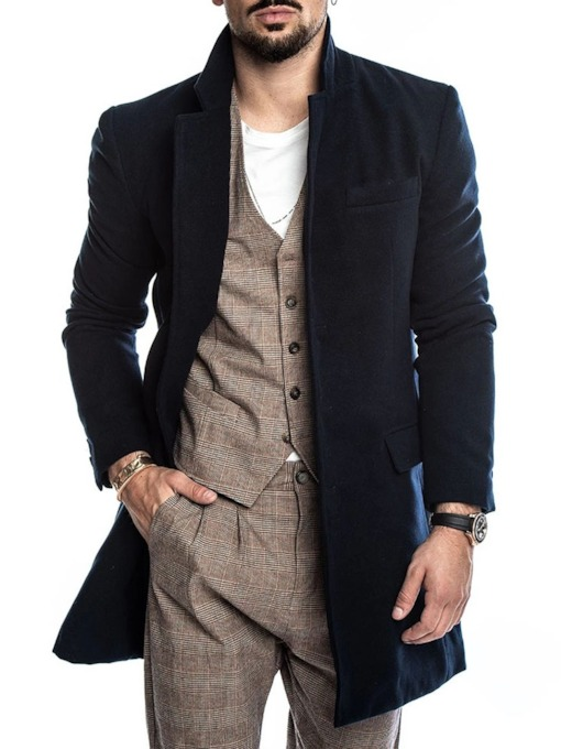 Mid-Length Plain Casual Men's Coat