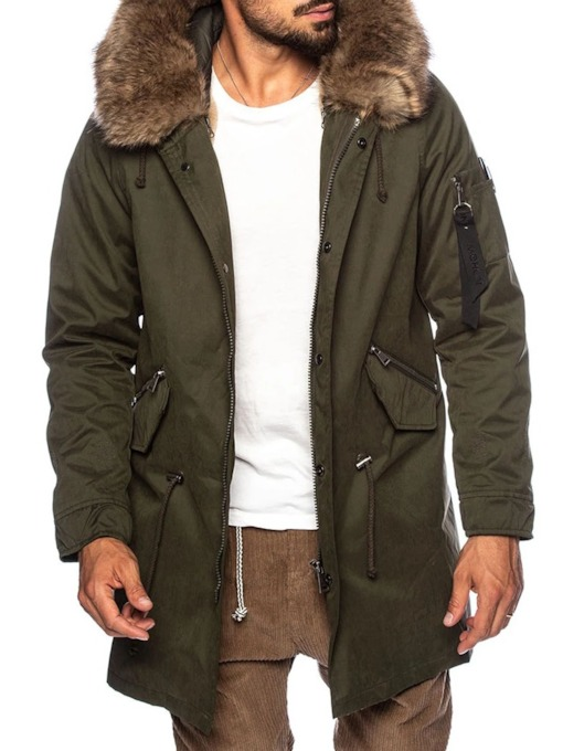 Mid-Length Hooded Patchwork Color Block Casual Men's Down Jacket