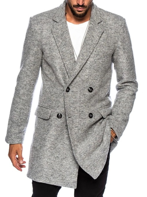 Button Mid-Length Notched Lapel Plain Double-Breasted Men's Coat