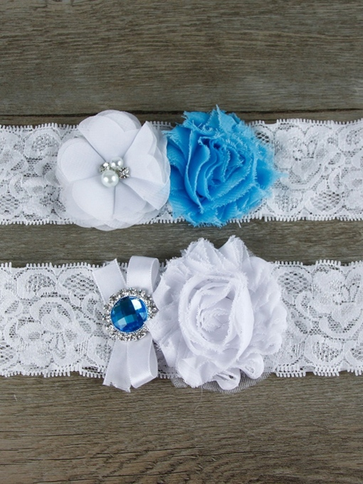 Bead Pearls Floral Lace Bridal Garters