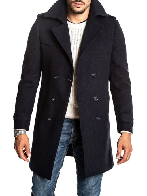 Plain Button Mid-Length A Line Men's Coat
