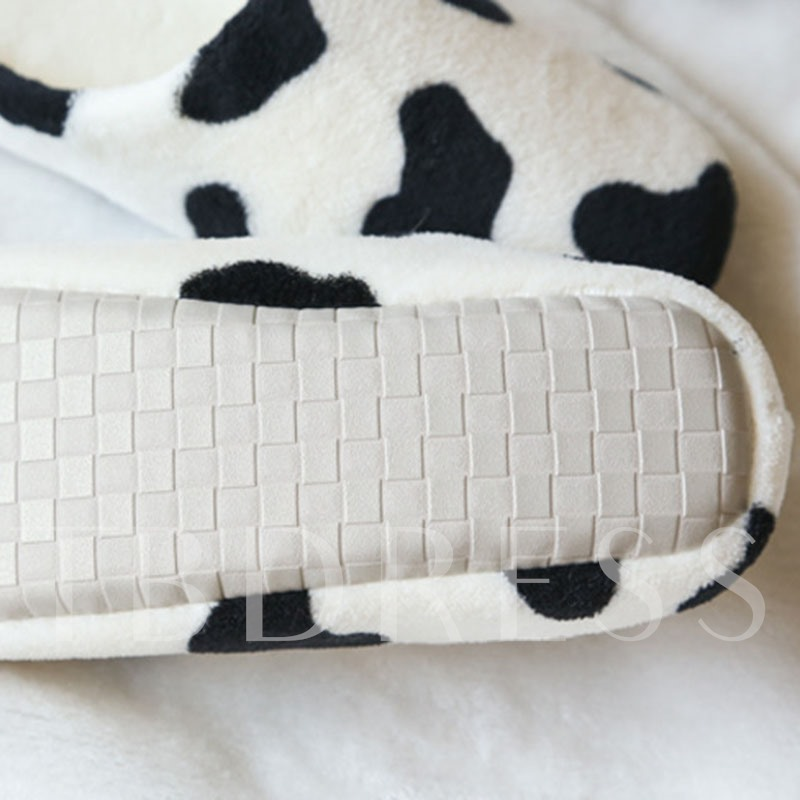 Slip-On Closed Toe Cow Print Indoor Winter Slippers