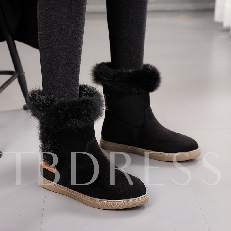 Slip-On Round Toe Plain Casual Snow Boots