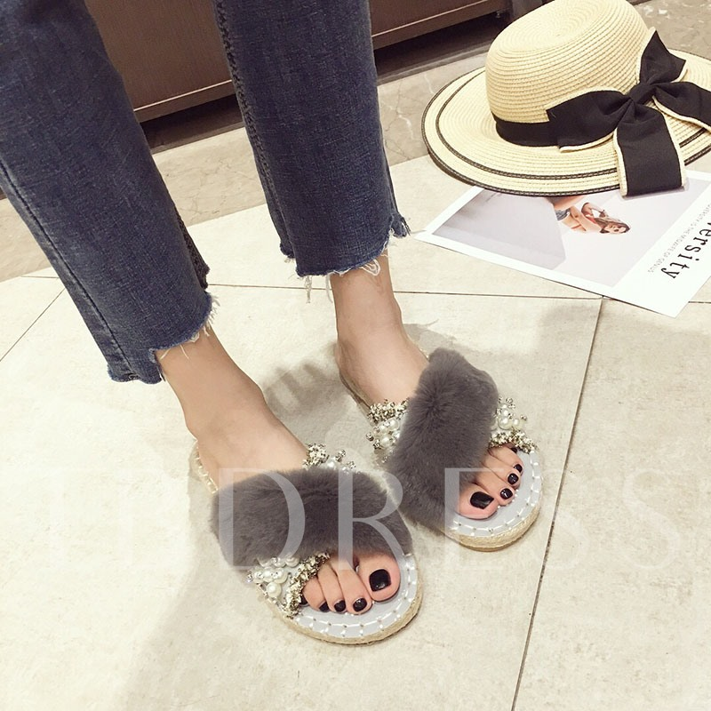 Rhinestone Block Heel Cross Slip-On Winter Slippers for Women