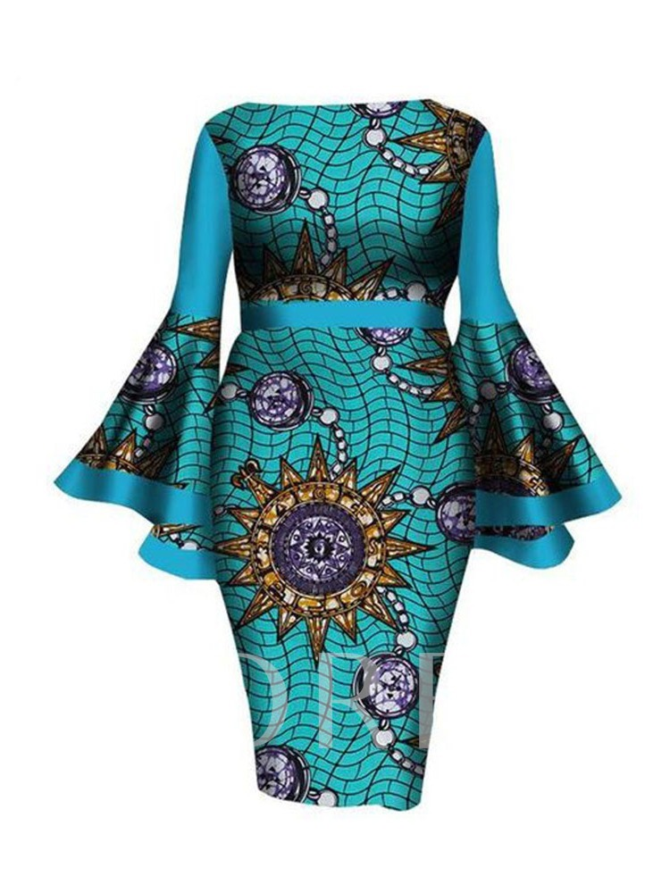 Plus Size Print Long Sleeve Mid-Calf Off Shoulder Flare Sleeve Women's Dress
