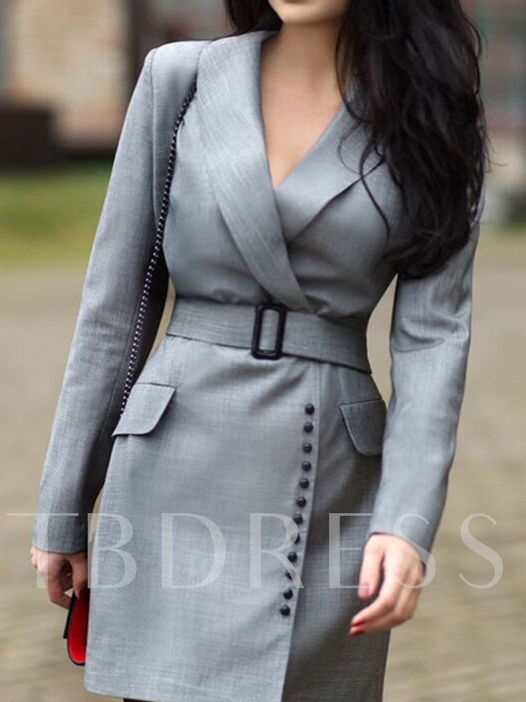 Above Knee Long Sleeve Notched Lapel Button Wear to Work/Workwear Women's Dress