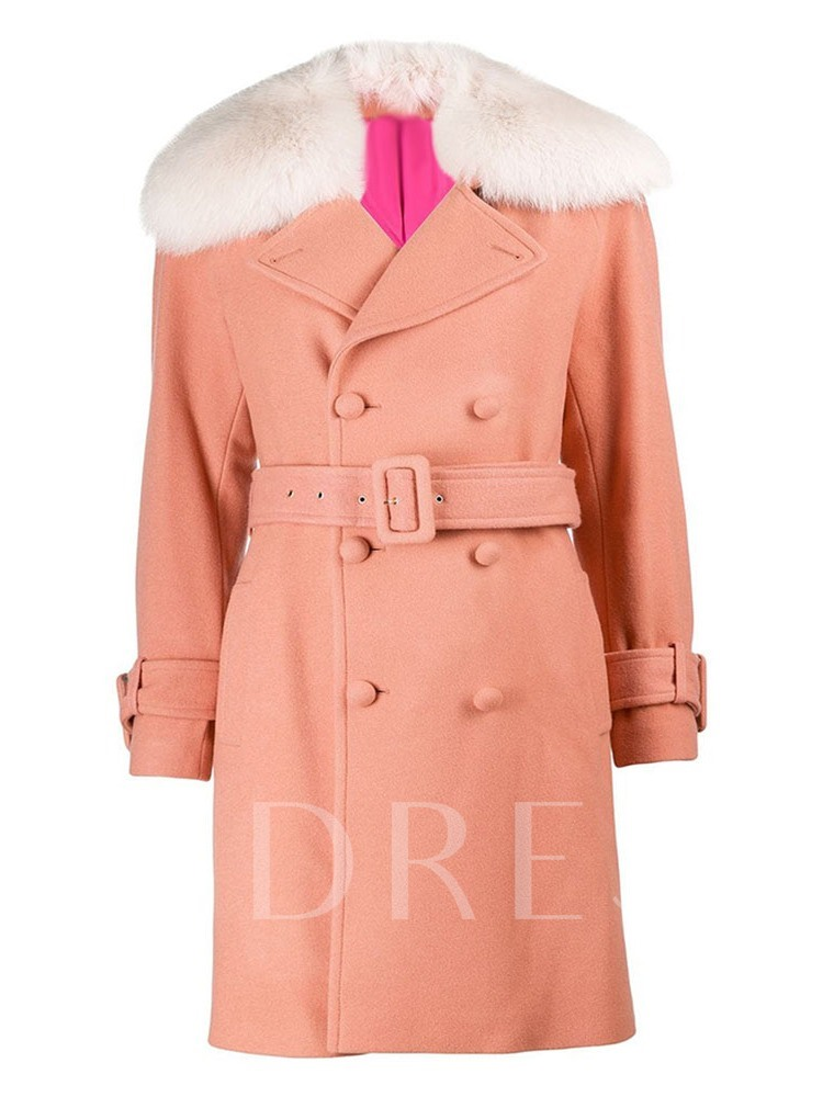 Plus Size Double-Breasted Straight Mid-Length Women's Overcoat