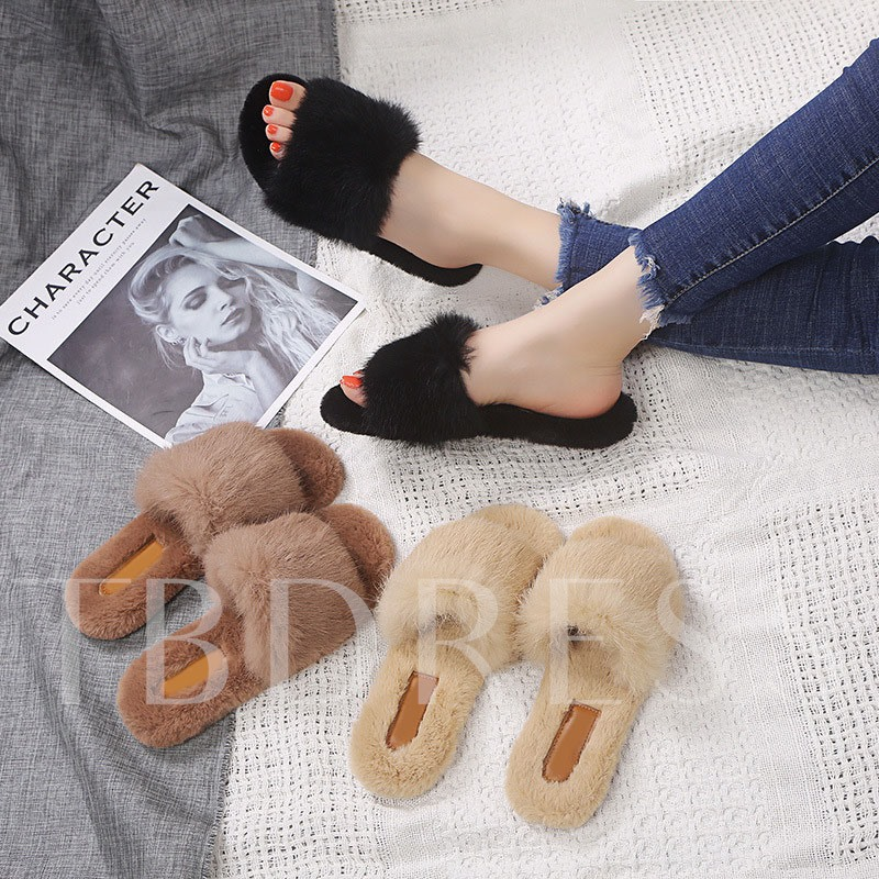 Block Heel Slip-On Winter Slippers