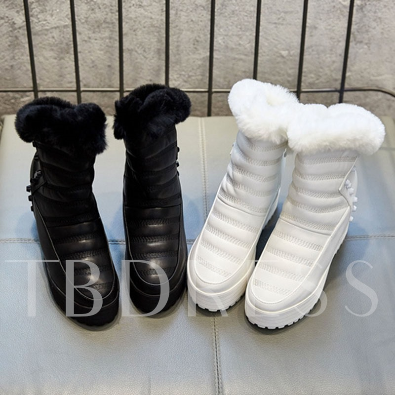 Side Zipper Wedge Heel Round Toe Plain Snow Boots