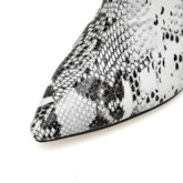 Pointed Toe Back Zip Stiletto Heel Snake Print Ankle Boots