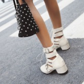 Lace-Up Front Pointed Toe Chunky Heel Sandals Booties