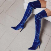 Stiletto Heel Pointed Toe Sexy Side Zipper Thigh High Boots