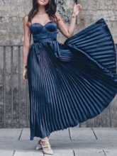Spaghetti Straps Pleats Ankle-Length Prom Dress 2019
