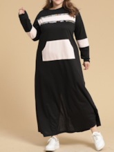 Plus Size Long Sleeve Tassel Ankle-Length Round Neck Plus Size Women's Dress