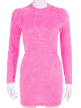 Stand Collar Above Knee Long Sleeve Bodycon Women's Dress