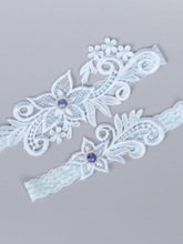 Floral Diamond Lace Wedding Garters