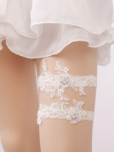 Floral Lace Pearl Wedding Garters