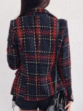 Plaid Long Sleeve Double-Breasted Regular Women's Casual Blazer