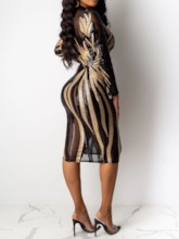 Stand Collar Nine Points Sleeve Mid-Calf See-Through Sexy Women's Bodycon Dress