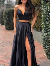 Two Pieces Split-Front Spaghetti Straps Black Prom Dress 2019
