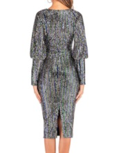 Sequins Long Sleeve V-Neck Mid-Calf Party/Cocktail Women's Dress