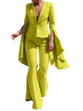 Office Lady Plain Bellbottoms Women's Two Piece Sets
