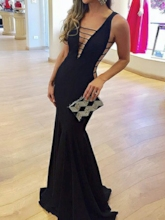 Sexy Hollow Mermaid V-Neck Black Evening Dress 2019