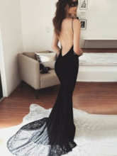 Mermaid Halter Backless Lace Celebrity Dress 2019