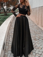 Long Sleeves Lace Two Pieces Black Prom Dress 2019