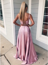 Straps Lace Pockets Two Pieces Prom Dress 2019