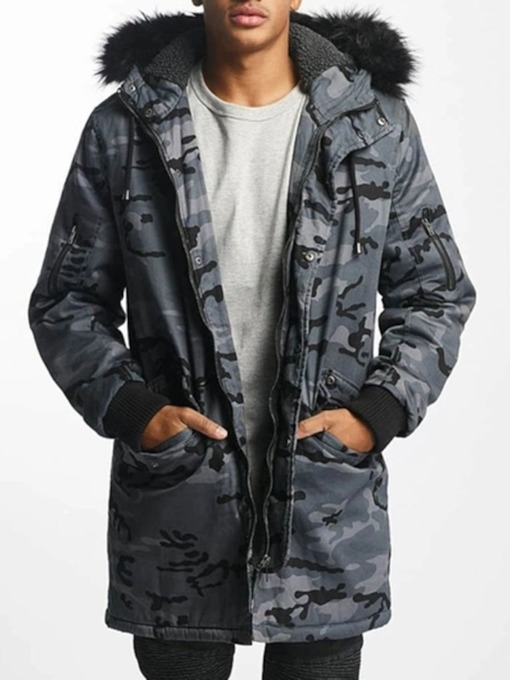 Mid-Length Hooded Patchwork Camouflage Casual Men's Down Jacket