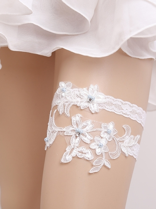 Beading Floral Appliques Lace Wedding Garters
