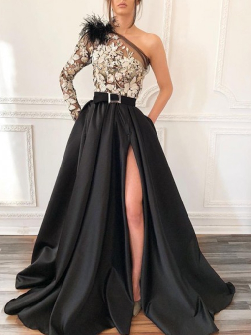 One Shoulder Appliques Split-Front Long Sleeve Evening Dress