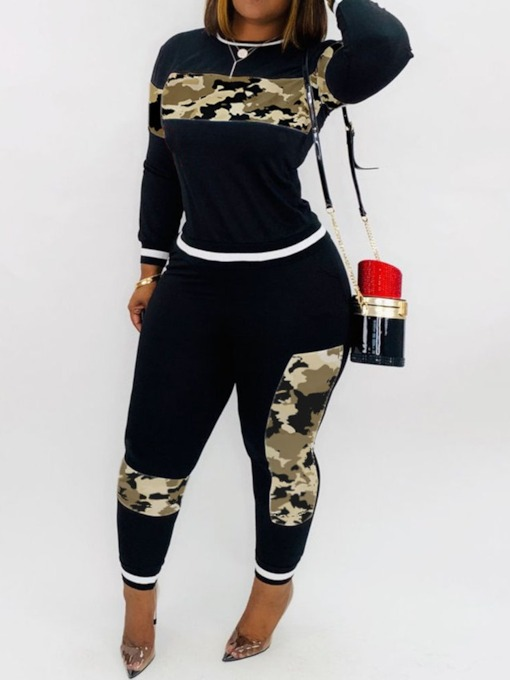Color Block Casual T-Shirt and Pencil Pants Women's Two Piece Sets