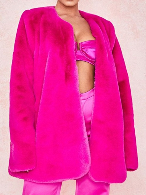 Mid-Length Round Neck Loose Women's Faux Fur Overcoat